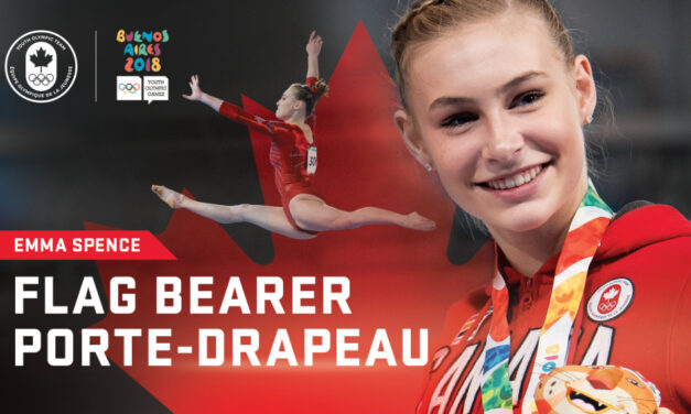 Emma Spence carries the Maple Leaf in Youth Olympic closing